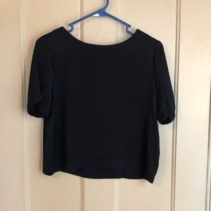Forever 21 navy crop blouse